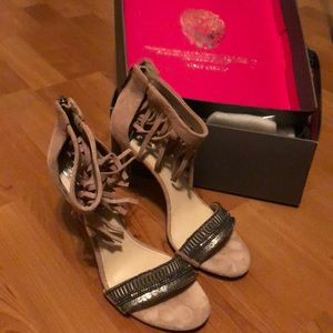 EUC Vince Camuto taupe heels with beadwork